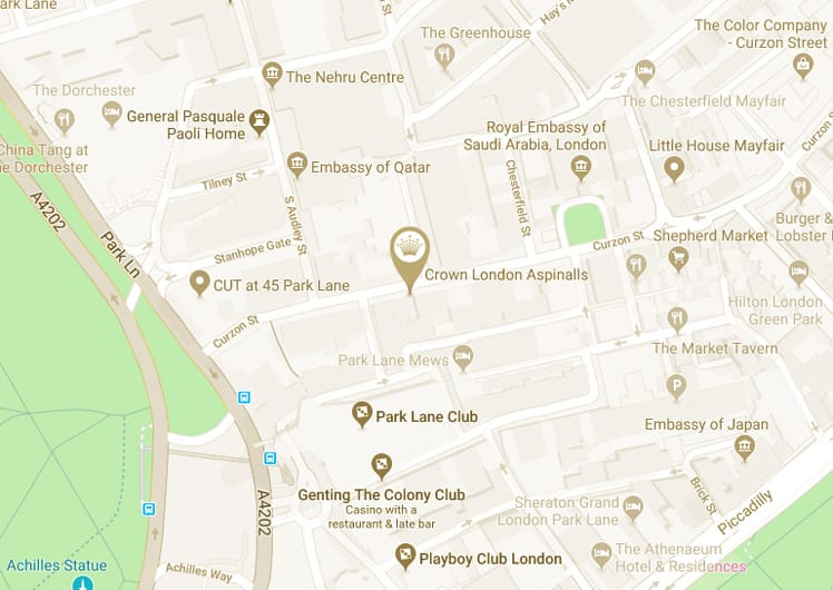 Crown London Aspinalls General Information map